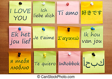 I love you in 12 languages - I love you word made by post it...