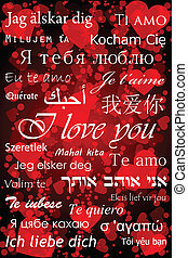 """""""I love you"""" in different languages - valentine card"""