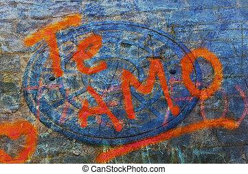 "\""I love you\"" in spanish - Grunge graffiti \""I love you\""..."