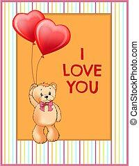 I Love You Inscription on Poster Cute Teddy Bear