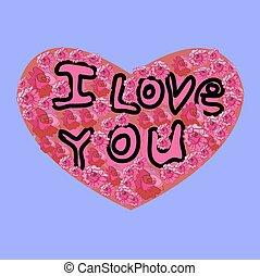 I Love You inscription on the Heart, purple background. Vector illustration.
