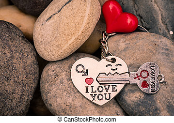 I love you Key chains in heart shaped with red heart on Stones, vintage style.