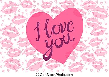 i Love you kiss red lips heart vector pink