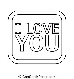 I LOVE YOU Lettering Illustration design