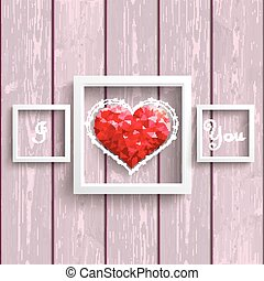 I Love You Low Poly Heart Pink Wood Frames