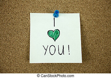 I love you message on cork board