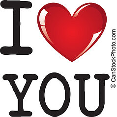 I love you message on white background, vector illustration
