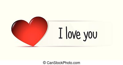 I love you message on white paper with red heart
