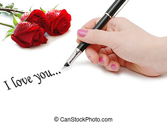 message with roses and hand