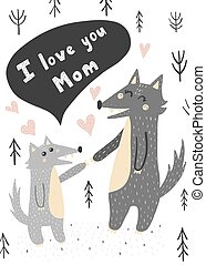 I Love you Mom card with mother and baby wolves