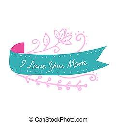 I Love You Mom Ribbon Pink Flower Background Vector Image