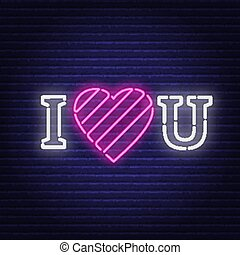 I love you neon. Heart sign.