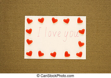 I love you note with fruit candies