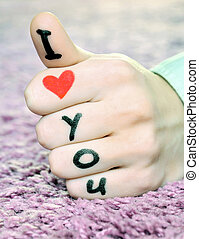"I love you - ""I love you"" on a hand on valentine's day"