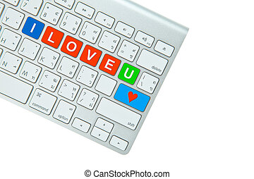 I Love You on computer keyboard isolated on white background