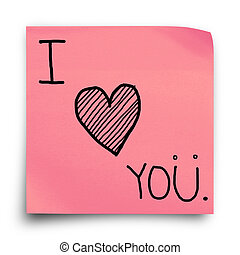 I love you on paper note