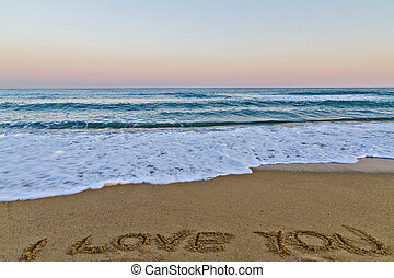 i love you on the sand