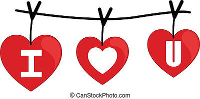 I Love You on Wire Vector