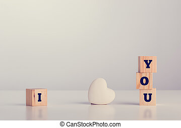 I love you on wooden blocks