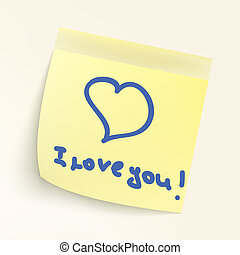 I love you paper note. EPS 8 vector file included