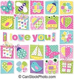 I love you pattern - illustration of birds bees ladybugs...