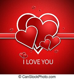 I love you - Red heart on a red background. And write a...