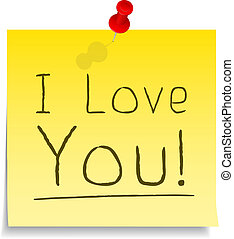 """""""I Love You"""" Post-it Note, vector eps10 illustration"""