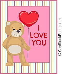 I Love You Poster Adorable Teddy Gently Hold Heart