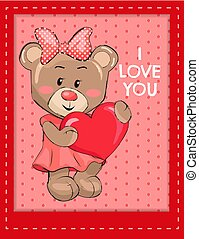 I Love You Poster with Bear Female Holds Red Heart
