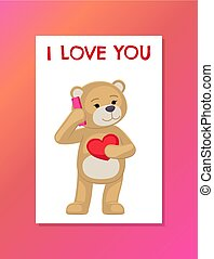 I Love you Poster with Plush Bear Toy Speak Phone