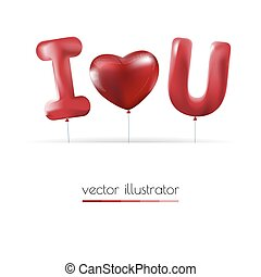 I love you , Red heart balloons colorful illustration background