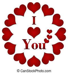 I love You Red Hearts Circular