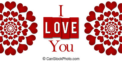 I Love You Red Hearts Stripes
