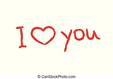 I love you red lettering text with red heart