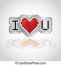 I love you retro look logo - illustration