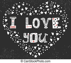I love you. Romantic card with heart. Cute postcard with decorative elements