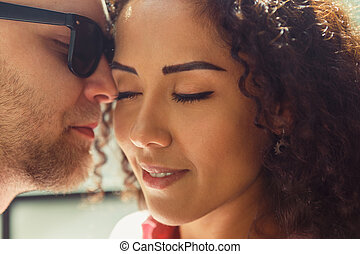 Beautiful young loving couple. Man and woman in love. Girl and boyfriend together.