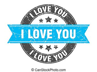 i love you round stamp with ribbon. label sign