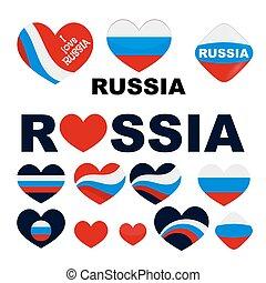 I love you Russia Big set heart Russian flag