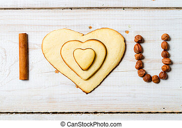 """""""I love you"""" sentence arranged with cookies and nuts no. 1"""