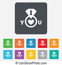 I Love you sign icon. Valentines day symbol.