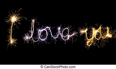 """""""I love you"""" sign made by sparkler"""