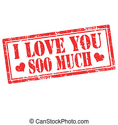 I Love You-stamp - Grunge rubber stamp with text I Love You...