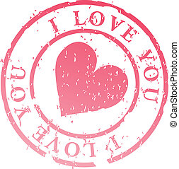 I love you stamp - Love stamp, heart with words I love you...
