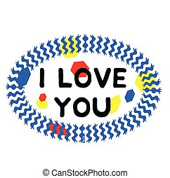I LOVE YOU stamp on white