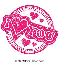 """I love you stamp - Rubber stamp illustration showing """"I LOVE..."""