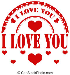 I Love You-stamp - Rubber stamp with text I Love You,vector...