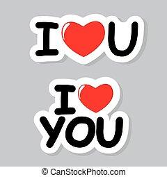 I Love You Sticker Vector Illustration