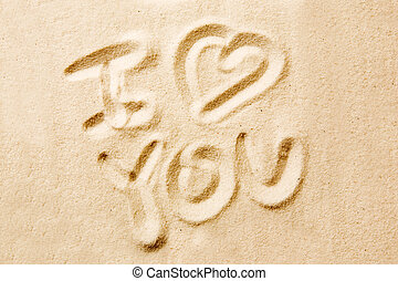I Love You - I love you message written in golden sand