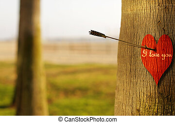 I love you - Abstract concept photograph of an arrow...